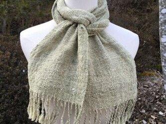 【畑からの優しい贈り物】 手紡ぎオーガニック緑綿マフラーの画像