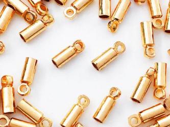 送料無料 カツラ ゴールド KC金 50個 2x6 エンドパーツ 留め具 紐留め 金具 アクセサリーパーツ AP0955の画像