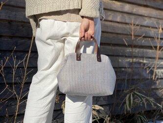 Boston bag S size [Växbo Lin]  Sweden 青と生成りのストライプの画像
