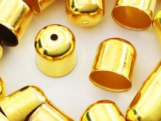 送料無料 カツラ ゴールド 30個 10x10 カン無し エンドパーツ 留め具 紐留め 金具 アクセサリーパーツ AP0968の画像