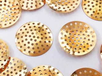 送料無料 シャワー金具 25mm 100枚 ゴールド KC金 シャワー台 アクセサリーパーツ 台座 金具 AP0975の画像