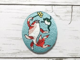 手刺繍浮世絵ブローチ*歌川国芳「金魚づくし 酒のざしき」よりの画像
