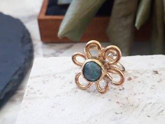 【サイズ調整可能】turquoise flower ringの画像