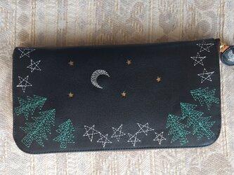 刺繍革財布『夜の森』牛革(ラウンドファスナー型)NAVYの画像