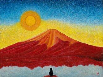 赤富士と黒猫の画像