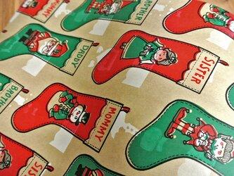 U.S.A. ヴィンテージ包装紙【クリスマスソックス】DA-WP028の画像