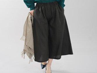 【wafu】中厚 リネンワイドパンツ スカーチョ キュロットパンツ ボトムス ワイドパンツ/ブラック b002a-bck2の画像