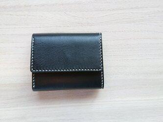 *受注生産* 手縫いの三つ折り財布 #1ー2  スタンダード 栃木レザー(ピアノレザー)黒×ピッグスエード 黒の画像