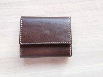 *受注生産* 手縫いの三つ折り財布 #1ー2  スタンダード 栃木レザー(ピアノレザー)焦茶×ピッグスエード 焦茶の画像