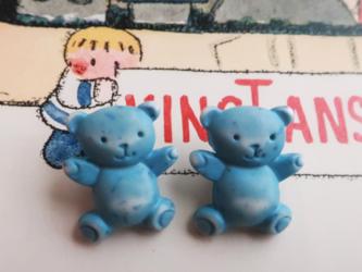 (2個)くまちゃんボタン ブルー フランス製の画像