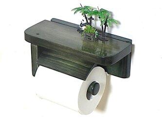 木製トイレットペーパーホルダーVer.5S(ダークグリーン グラデーション)の画像