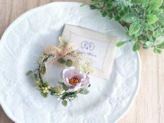 アン好みの野ばらのリースコサージュ☆*: ラヴェンダー wild rose wreath corsage lavenderの画像
