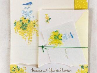 ミモザと青い鳥レターセットの画像