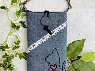 手刺繍の横顔ねこスマホポーチ タンガリーグレーの画像