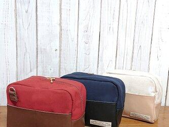 2way倉敷帆布と合皮のショルダーバッグ+大きめポーチの画像