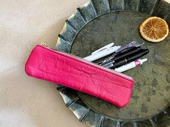 鮮やか春小物 スリム ペンケース 本革 マゼンタ ピンクの画像