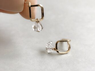 ミニスクエアピアス ハーキマーダイヤモンド(14kgf )の画像