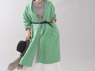 【見習い製作品 wafu】中厚地 リネン ショールカラー ローブ コート ロングコート/オパールグリーン h013a-opg2の画像