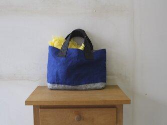 """リネンのトートバッグ(ロイヤルブルー)B5 """"マチたっぷりのお散歩BAG""""の画像"""