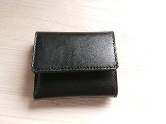 *受注生産* 三つ折り財布 #3-2 札入れ 栃木レザー(ピアノレザー)黒 × ピッグスエード 黒の画像