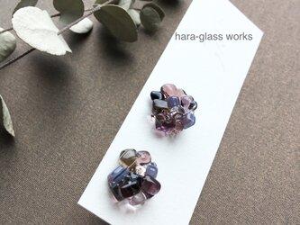 ガラス ピアス つぶつぶアクセサリー パープルミックス 箱付きの画像