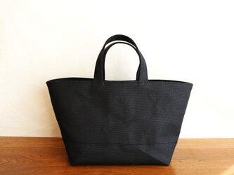 黒 倉敷産8号帆布使用バスケット横【受注製作】の画像