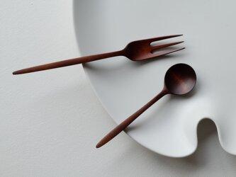 Kiko様分 山桜の3本櫛フォーク(B)&チェリーのデザートスプーン(F)の画像