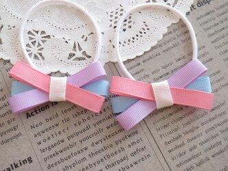 ★りぼん★ ピンク・むらさき・水色の細いトリプルリボンのヘアゴムの画像