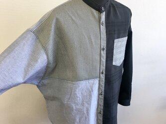男女兼用❤️チェック柄千鳥柄バイカラードルマンシャツ 黒水色グレー(男女フリー メンズML、レディースL〜LL)の画像