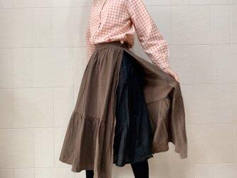 【値下げ】二重横切りスカート(brown)の画像