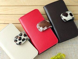 Xperia 毛付き革ハラコ 手帳型スマホケース(3色)の画像
