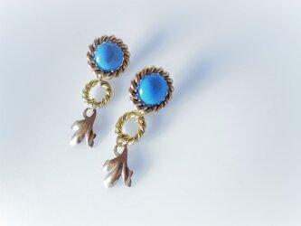 ツイストリング&リーフピアス vintage earrings ring & leaf <PE1-0120>の画像