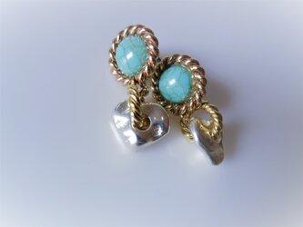 ツイストリング&ナゲットピアス vintage earrings ring <PE2-0120>の画像