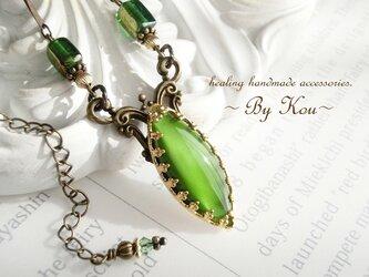 ~✥美しいGreen Moon✥~vintage decorative ネックレス/Aの画像