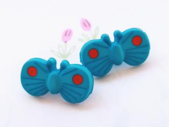 (2個) ちょうちょのボタン ブルー フランス製の画像