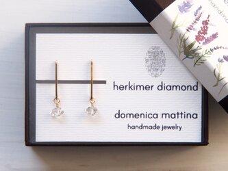 ハーキマーダイヤモンド(4月誕生石) ×シンプルラインイヤリングの画像