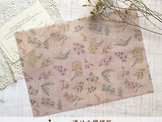 透ける模様紙【アンティークの花(ピンク)】の画像