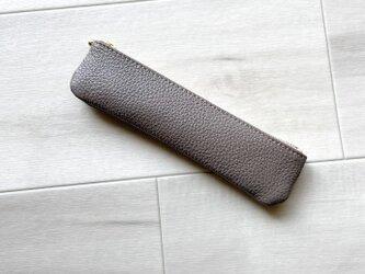 大人ラメ スリム ペンケース 本革 グレーラメの画像