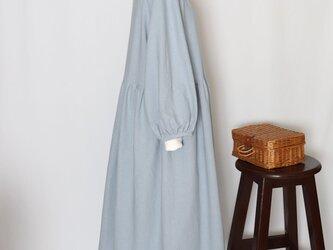 ざっくりレトロな木綿ワンピース(シックブルー)の画像