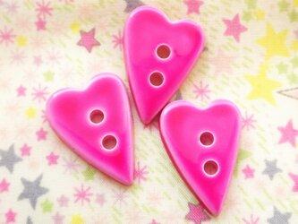 (3個) ハートのボタン ピンク フランス製の画像
