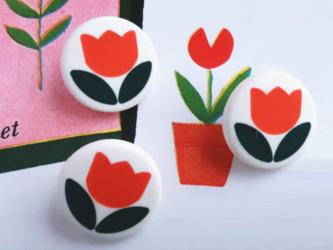 (3個) チューリップのボタン フランス製の画像