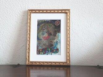 小さい絵画/現代アート/アートコレクション/壁掛けアート/可愛いインテリア/絵画壁掛け/癒しシリーズ・太陽とお母さんの画像
