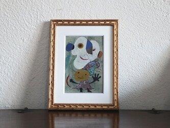 小さい絵画/現代アート/アートコレクション/壁掛けアート/可愛いインテリア/絵画壁掛け/癒しシリーズ・お父さんと私の画像