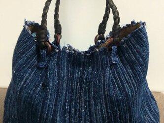 裂き織りバッグ 手織りの画像