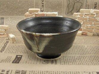 陶器ご飯茶碗(中)黒来待釉と藁灰 【200101】の画像