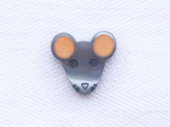 (2個) ねずみのボタン・小・オレンジ耳 フランス製の画像
