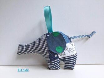 ガーゼのにぎにぎガラガラおもちゃ・ぞうさん ブルー系Jの画像