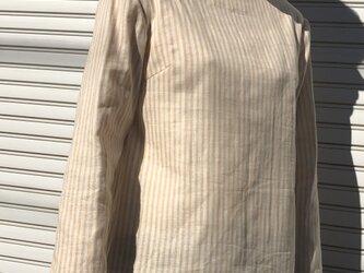 ダブルガーゼ体型カバーTブラウスストライプベージュの画像