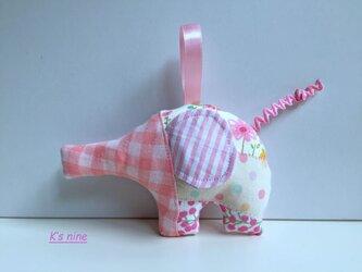 ガーゼのにぎにぎガラガラおもちゃ・ぞうさん ピンク系Dの画像