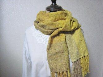 草木染め シルク手織りストール(ゴールドイエロー×オリーブグリーン)の画像